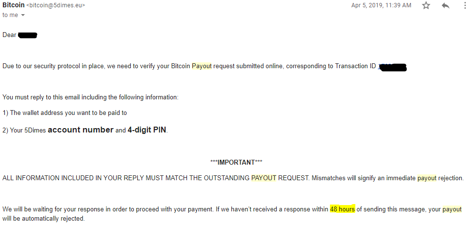 An email from the 5Dimes payout team for Bitcoin withdrawals.